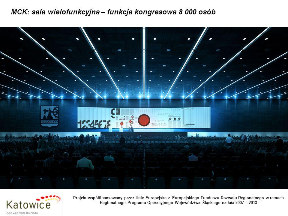 MCK: sala wielofunkcyjna – funkcja kongresowa 8 000 osób Projekt współfinansowany przez Unię Europejską z Europejskiego Funduszu Rozwoju Regionalnego w ramach Regionalnego Programu Operacyjnego Województwa Śląskiego na lata 2007 – 2013