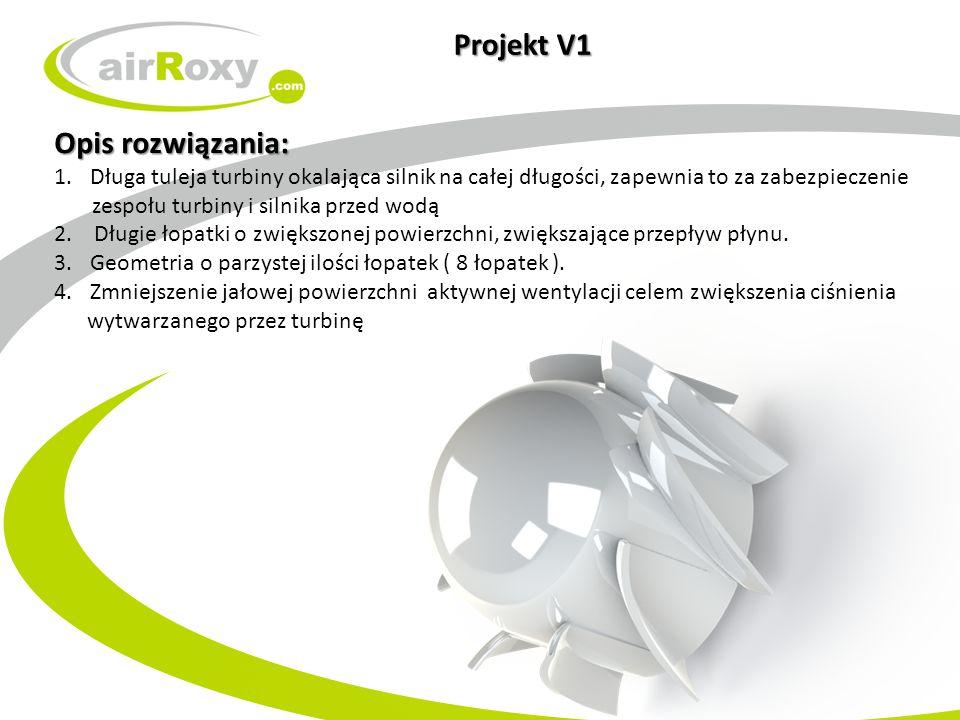 Projekt V1 Opis rozwiązania: 1.Długa tuleja turbiny okalająca silnik na całej długości, zapewnia to za zabezpieczenie zespołu turbiny i silnika przed