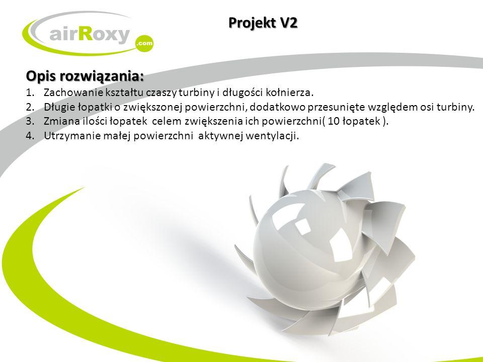 Projekt V2 Opis rozwiązania: 1.Zachowanie kształtu czaszy turbiny i długości kołnierza. 2.Długie łopatki o zwiększonej powierzchni, dodatkowo przesuni