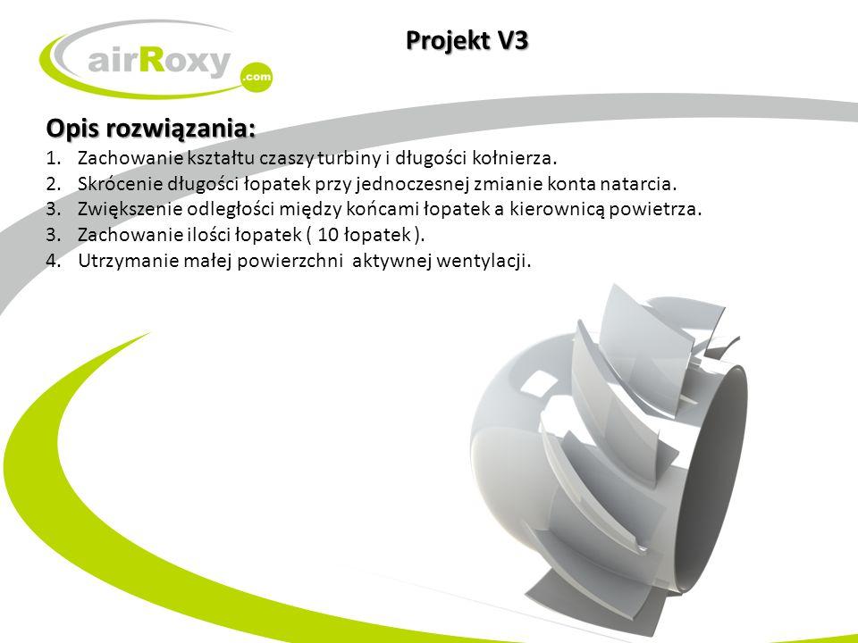 Projekt V3 Opis rozwiązania: 1.Zachowanie kształtu czaszy turbiny i długości kołnierza. 2.Skrócenie długości łopatek przy jednoczesnej zmianie konta n