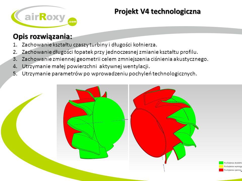 Projekt V4 technologiczna Opis rozwiązania: 1.Zachowanie kształtu czaszy turbiny i długości kołnierza. 2.Zachowanie długości łopatek przy jednoczesnej