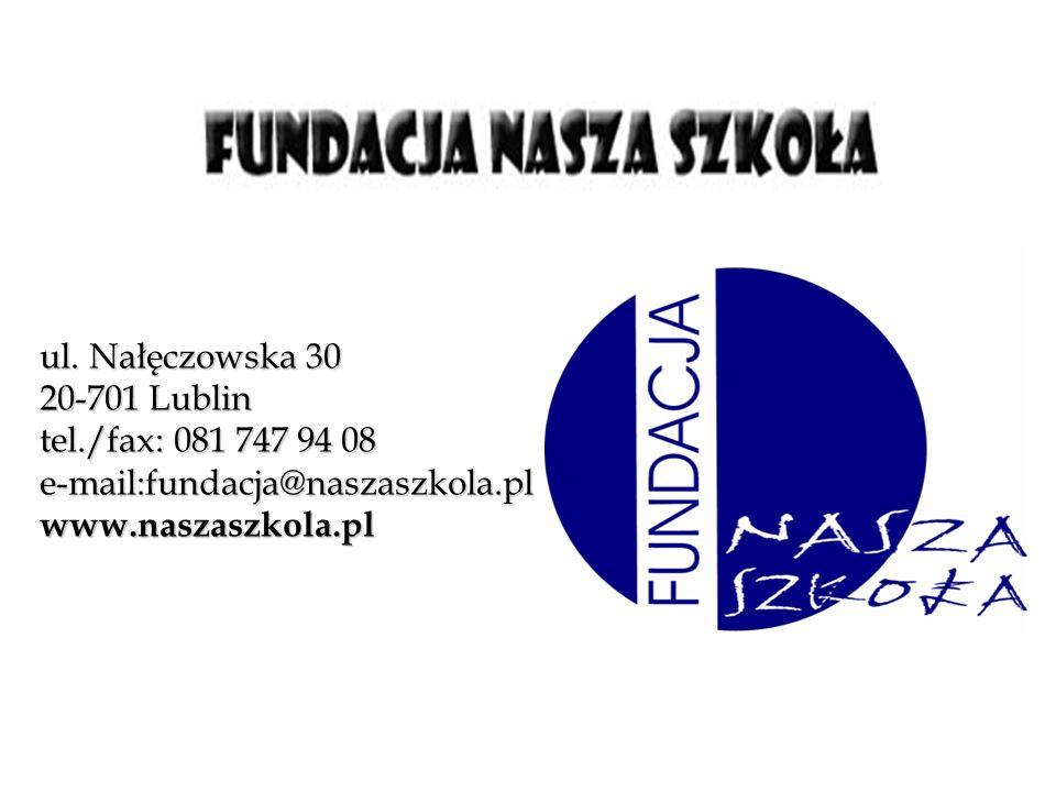 ul. Nałęczowska 30 20-701 Lublin tel./fax: 081 747 94 08 e-mail:fundacja@naszaszkola.pl www.naszaszkola.pl