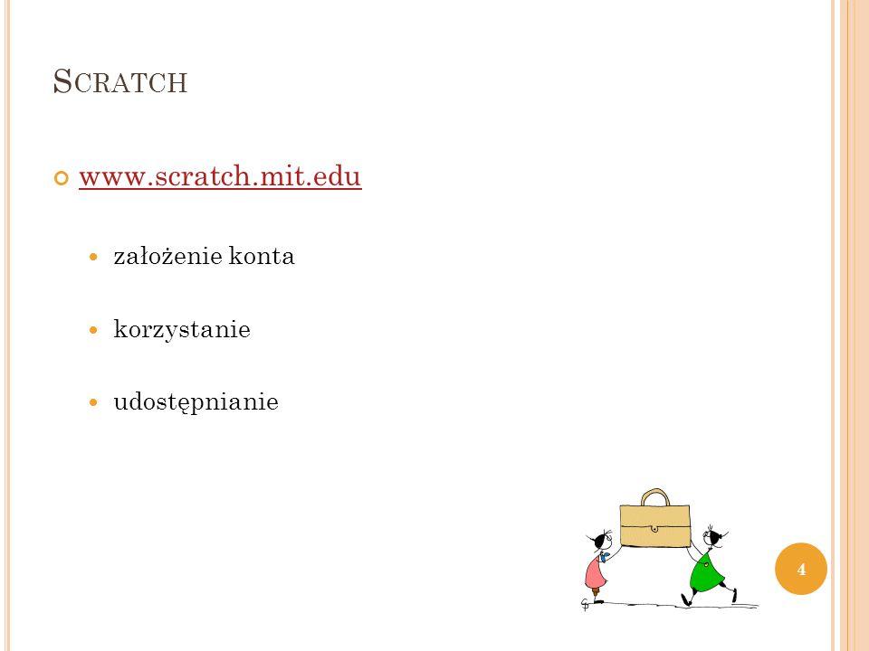 S CRATCH www.scratch.mit.edu założenie konta korzystanie udostępnianie 4
