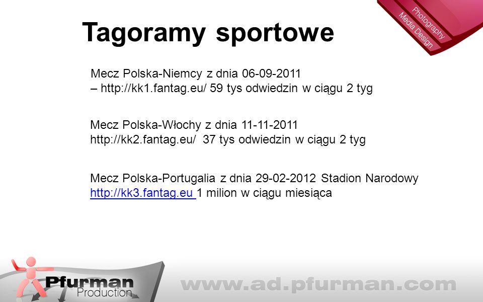 Tagoramy sportowe Mecz Polska-Niemcy z dnia 06-09-2011 – http://kk1.fantag.eu/ 59 tys odwiedzin w ciągu 2 tyg Mecz Polska-Włochy z dnia 11-11-2011 http://kk2.fantag.eu/ 37 tys odwiedzin w ciągu 2 tyg Mecz Polska-Portugalia z dnia 29-02-2012 Stadion Narodowy http://kk3.fantag.eu 1 milion w ciągu miesiąca http://kk3.fantag.eu