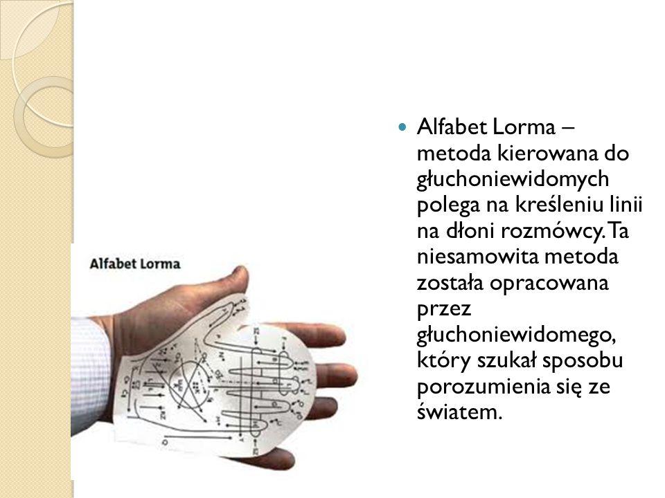 Alfabet Lorma – metoda kierowana do głuchoniewidomych polega na kreśleniu linii na dłoni rozmówcy.