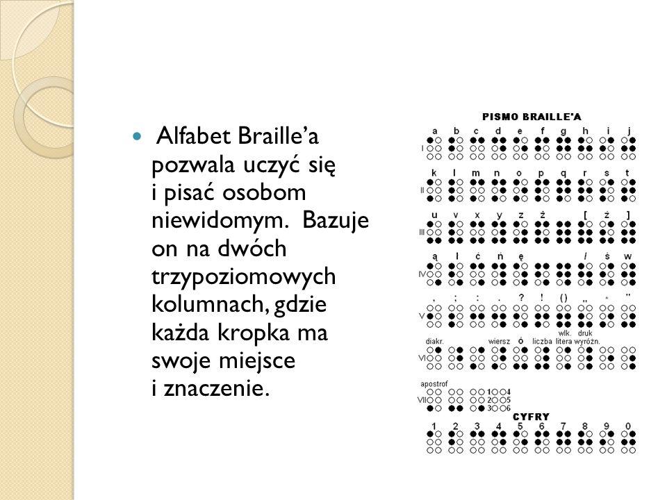 Alfabet Braille'a pozwala uczyć się i pisać osobom niewidomym.