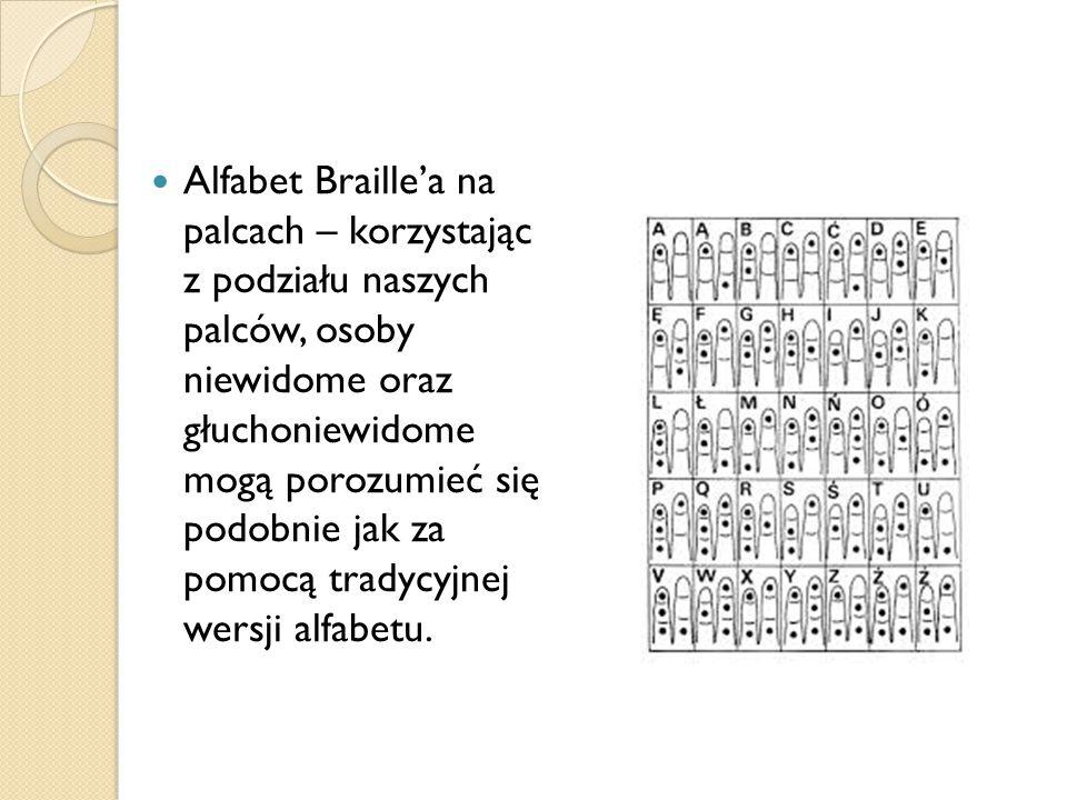 Alfabet Braille'a na palcach – korzystając z podziału naszych palców, osoby niewidome oraz głuchoniewidome mogą porozumieć się podobnie jak za pomocą tradycyjnej wersji alfabetu.
