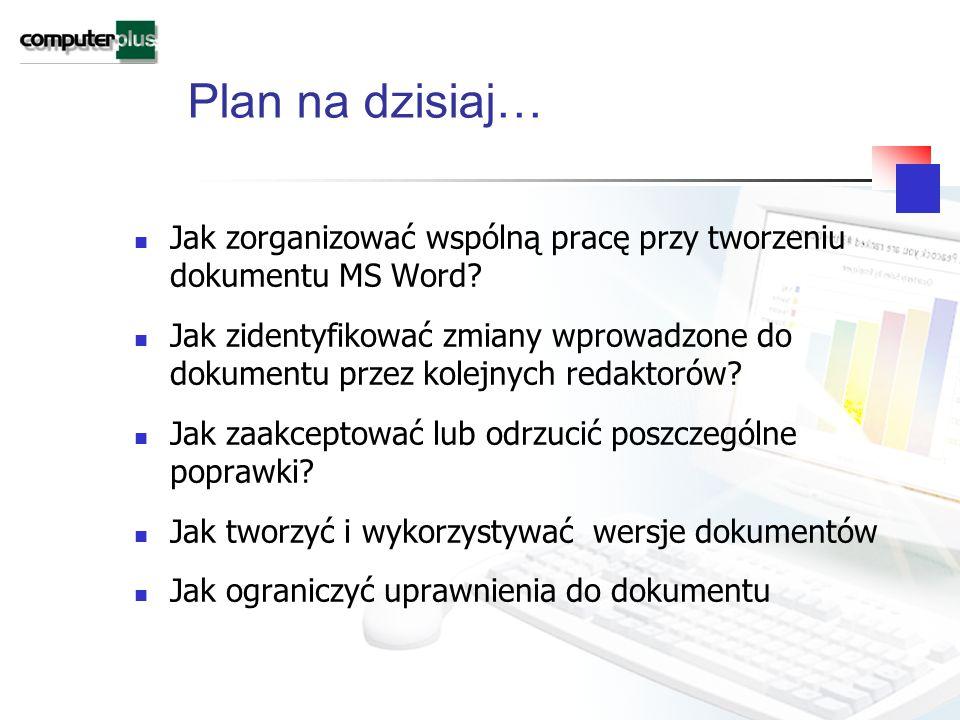 Plan na dzisiaj… Jak zorganizować wspólną pracę przy tworzeniu dokumentu MS Word.