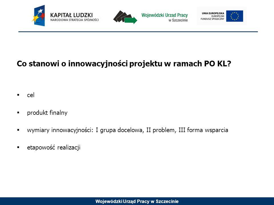 Wojewódzki Urząd Pracy w Szczecinie CEL Celem projektu innowacyjnego testującego jest poszukiwanie nowych, lepszych, efektywniejszych sposobów rozwiązywania problemów mieszczących się w obszarach wsparcia EFS.