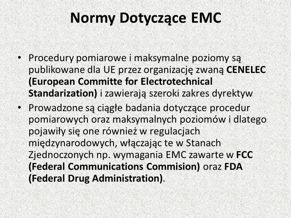 Procedury pomiarowe i maksymalne poziomy są publikowane dla UE przez organizację zwaną CENELEC (European Committe for Electrotechnical Standarization) i zawierają szeroki zakres dyrektyw Prowadzone są ciągłe badania dotyczące procedur pomiarowych oraz maksymalnych poziomów i dlatego pojawiły się one również w regulacjach międzynarodowych, włączając te w Stanach Zjednoczonych np.