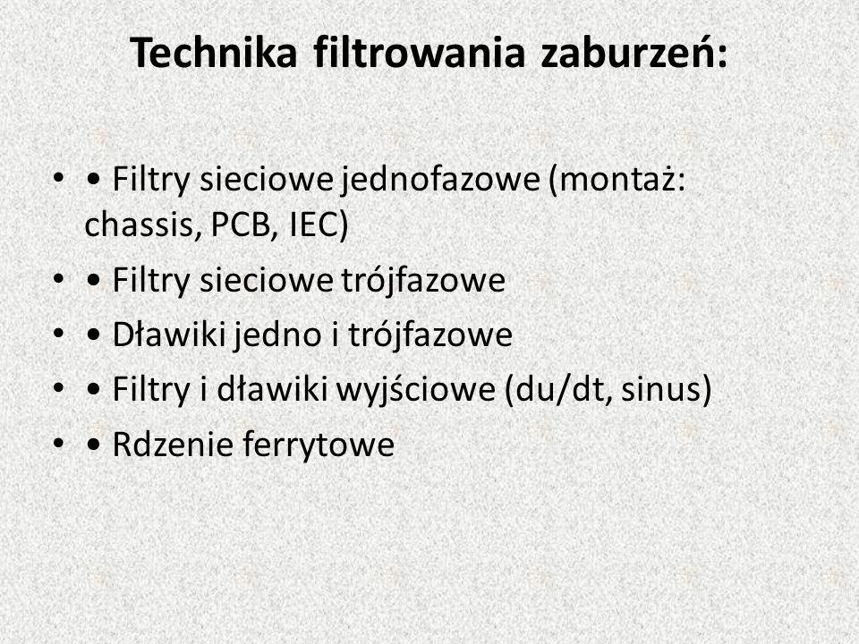 Technika filtrowania zaburzeń: Filtry sieciowe jednofazowe (montaż: chassis, PCB, IEC) Filtry sieciowe trójfazowe Dławiki jedno i trójfazowe Filtry i dławiki wyjściowe (du/dt, sinus) Rdzenie ferrytowe