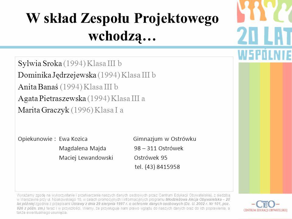 Sylwia Sroka (1994) Klasa III b Dominika Jędrzejewska (1994) Klasa III b Anita Banaś (1994) Klasa III b Agata Pietraszewska (1994) Klasa III a Marita