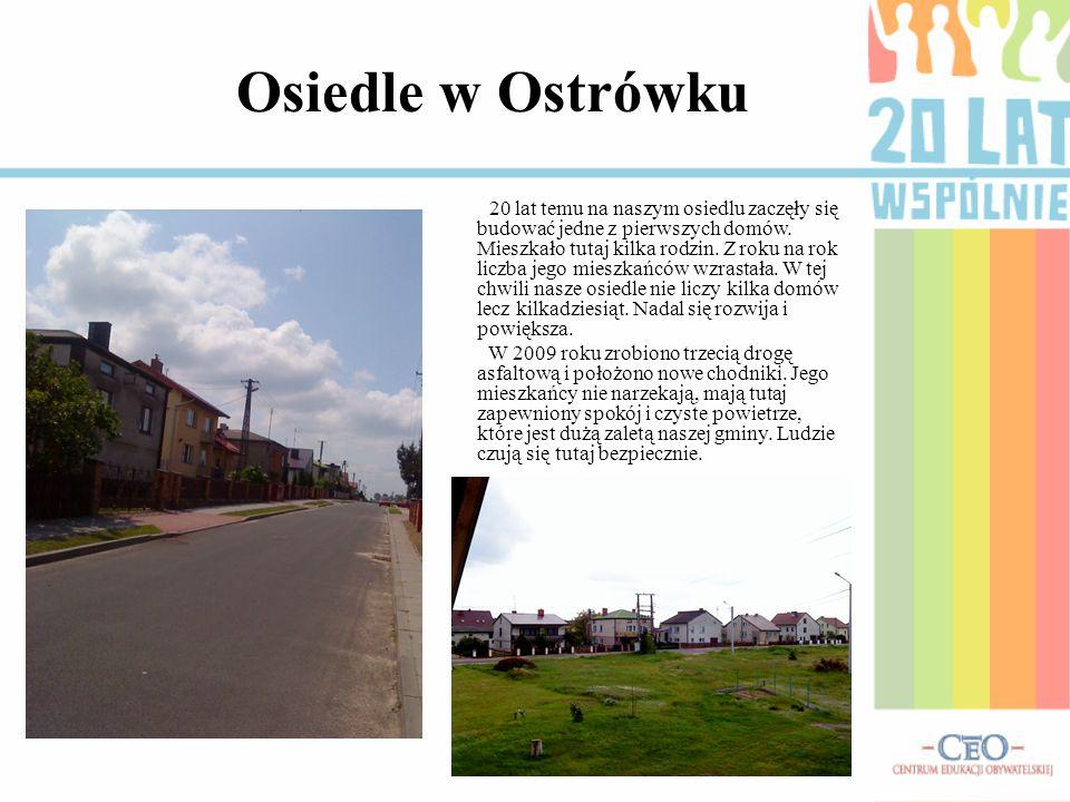 Osiedle w Ostrówku 20 lat temu na naszym osiedlu zaczęły się budować jedne z pierwszych domów. Mieszkało tutaj kilka rodzin. Z roku na rok liczba jego