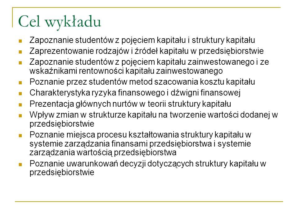 Cel wykładu Zapoznanie studentów z pojęciem kapitału i struktury kapitału Zaprezentowanie rodzajów i źródeł kapitału w przedsiębiorstwie Zapoznanie st