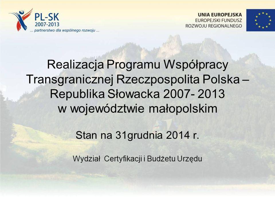 Realizacja Programu Współpracy Transgranicznej Rzeczpospolita Polska – Republika Słowacka 2007- 2013 w województwie małopolskim Stan na 31grudnia 2014