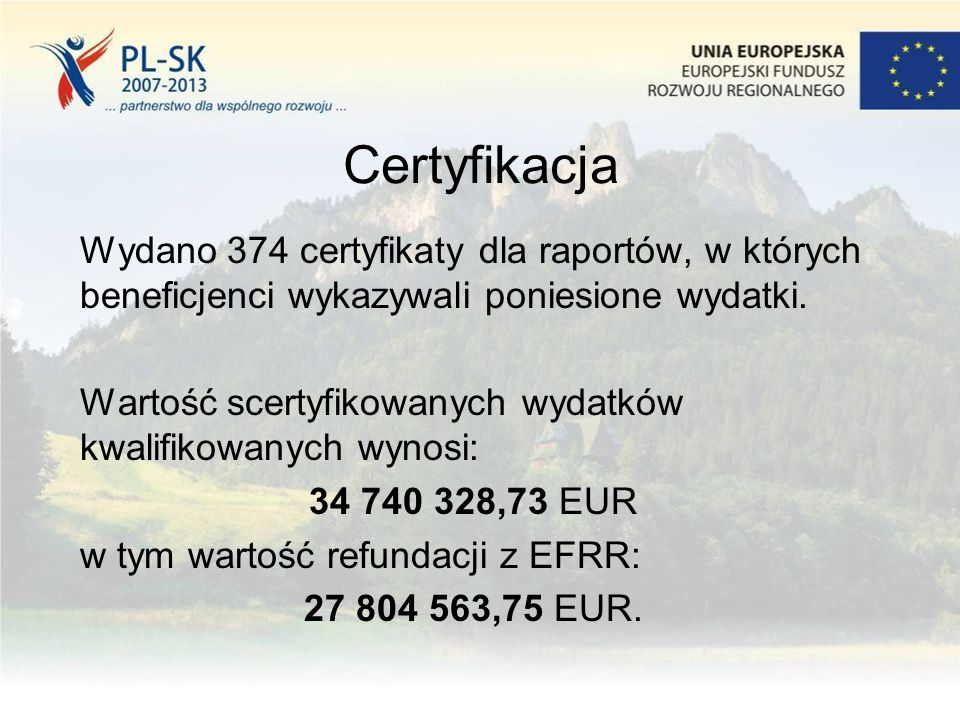 Certyfikacja Wydano 374 certyfikaty dla raportów, w których beneficjenci wykazywali poniesione wydatki. Wartość scertyfikowanych wydatków kwalifikowan