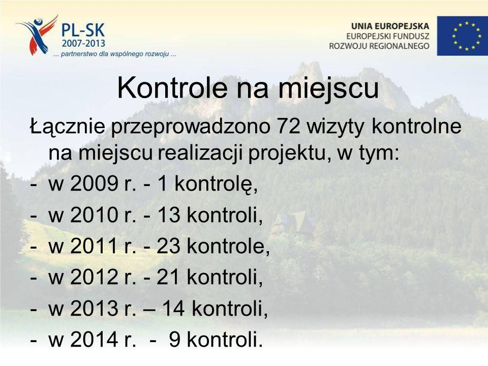 Kontrole na miejscu Łącznie przeprowadzono 72 wizyty kontrolne na miejscu realizacji projektu, w tym: -w 2009 r. - 1 kontrolę, -w 2010 r. - 13 kontrol