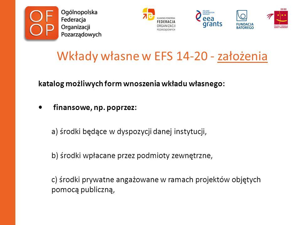 Wkłady własne w EFS 14-20 - założenia katalog możliwych form wnoszenia wkładu własnego: finansowe, np. poprzez: a) środki będące w dyspozycji danej in
