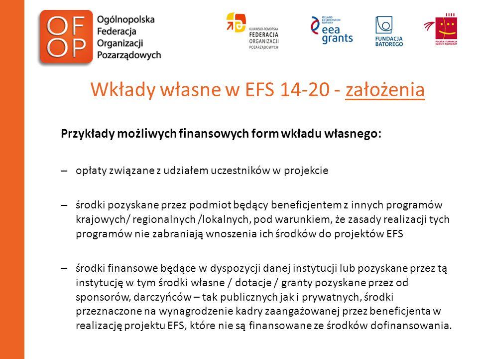 Wkłady własne w EFS 14-20 - założenia Przykłady możliwych finansowych form wkładu własnego: – opłaty związane z udziałem uczestników w projekcie – śro