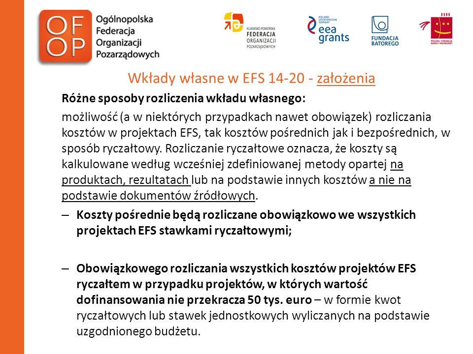 Wkłady własne w EFS 14-20 - założenia Różne sposoby rozliczenia wkładu własnego: możliwość (a w niektórych przypadkach nawet obowiązek) rozliczania ko