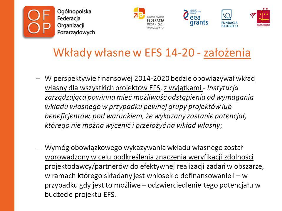 Wkłady własne w EFS 14-20 - założenia – W perspektywie finansowej 2014-2020 będzie obowiązywał wkład własny dla wszystkich projektów EFS, z wyjątkami