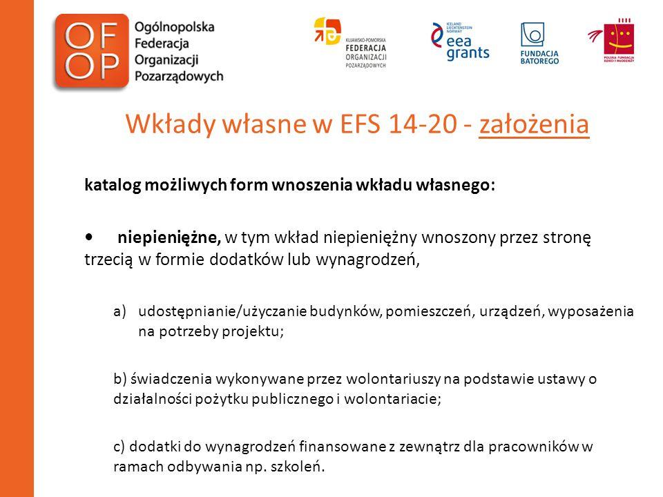 Wkłady własne w EFS 14-20 - założenia katalog możliwych form wnoszenia wkładu własnego: niepieniężne, w tym wkład niepieniężny wnoszony przez stronę t