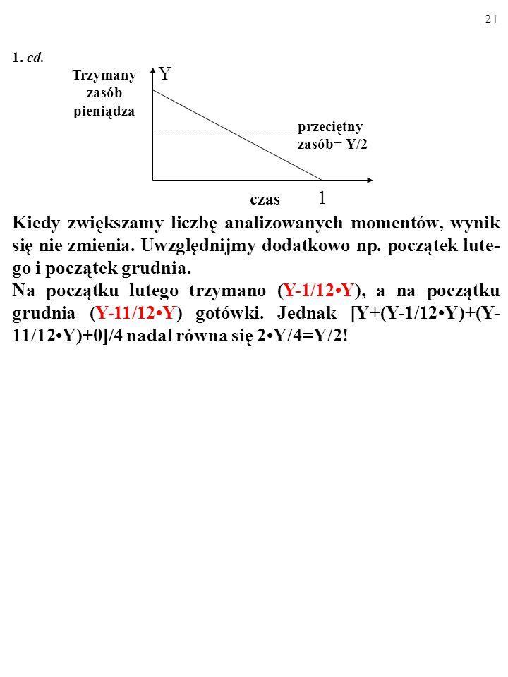 20 1.cd. W takiej sytuacji przeciętna ilość gotówki trzymana w ciągu roku wynosi: (Y+0)/2 = Y/2.