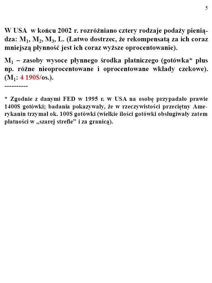 45 Równowaga na rynku pieniądza Rośnie podaż M1 (np.