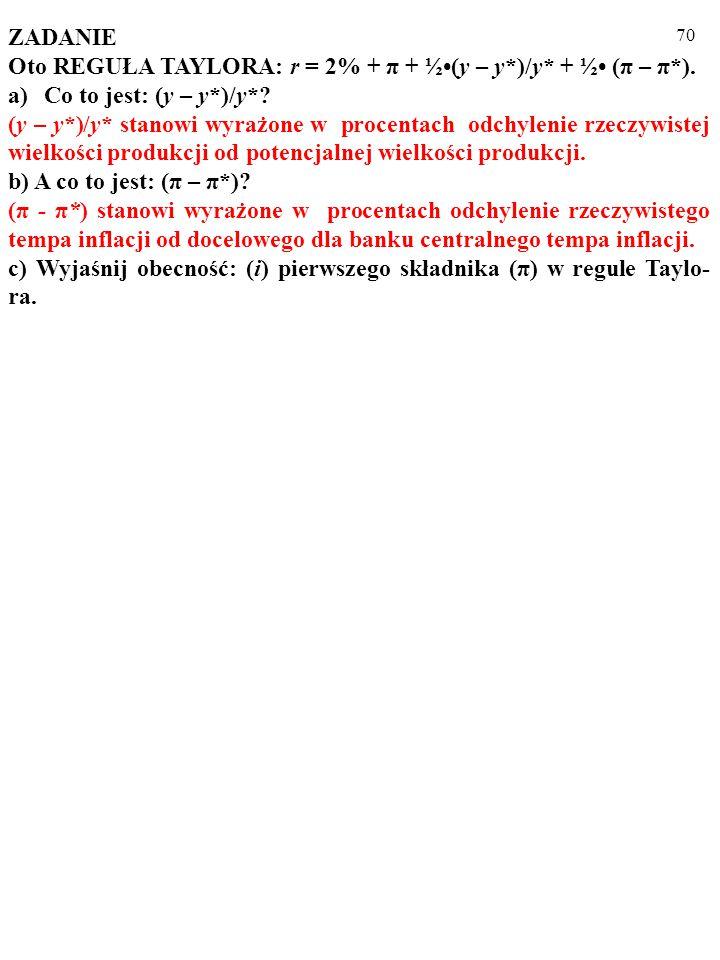 69 ZADANIE Oto REGUŁA TAYLORA: r = 2% + π + ½(y – y*)/y* + ½ (π – π*).