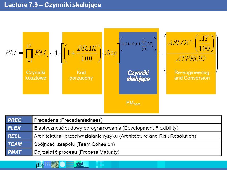 Lecture 7.9 – Czynniki skalujące Czynniki kosztowe Kod porzucony Re-engineering and Conversion PM nom PRECPrecedens (Precedentedness) FLEXElastyczność budowy oprogramowania (Development Flexibility) RESLArchitektura i przeciwdziałanie ryzyku (Architecture and Risk Resolution) TEAMSpójność zespołu (Team Cohesion) PMATDojrzałość procesu (Process Maturity)