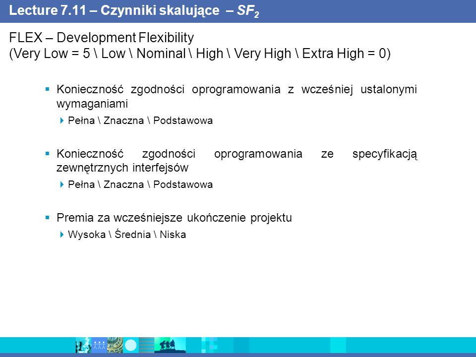 Lecture 7.11 – Czynniki skalujące – SF 2  Konieczność zgodności oprogramowania z wcześniej ustalonymi wymaganiami  Pełna \ Znaczna \ Podstawowa  Konieczność zgodności oprogramowania ze specyfikacją zewnętrznych interfejsów  Pełna \ Znaczna \ Podstawowa  Premia za wcześniejsze ukończenie projektu  Wysoka \ Średnia \ Niska FLEX – Development Flexibility (Very Low = 5 \ Low \ Nominal \ High \ Very High \ Extra High = 0)