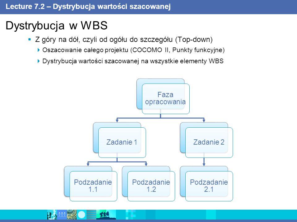 Lecture 7.2 – Dystrybucja wartości szacowanej  Z góry na dół, czyli od ogółu do szczegółu (Top-down)  Oszacowanie całego projektu (COCOMO II, Punkty funkcyjne)  Dystrybucja wartości szacowanej na wszystkie elementy WBS Dystrybucja w WBS Faza opracowania Zadanie 1 Podzadanie 1.1 Podzadanie 1.2 Zadanie 2 Podzadanie 2.1