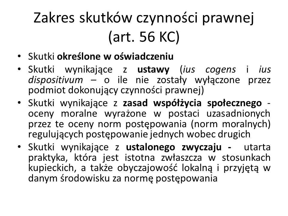 Zakres skutków czynności prawnej (art. 56 KC) Skutki określone w oświadczeniu Skutki wynikające z ustawy (ius cogens i ius dispositivum – o ile nie zo