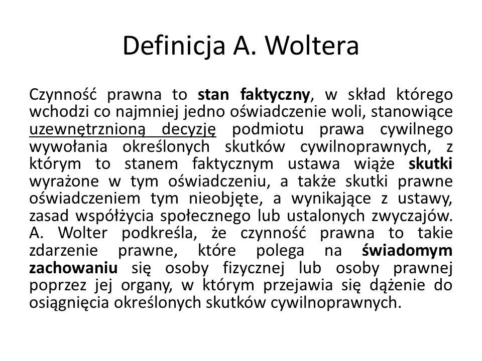 Definicja A. Woltera Czynność prawna to stan faktyczny, w skład którego wchodzi co najmniej jedno oświadczenie woli, stanowiące uzewnętrznioną decyzję