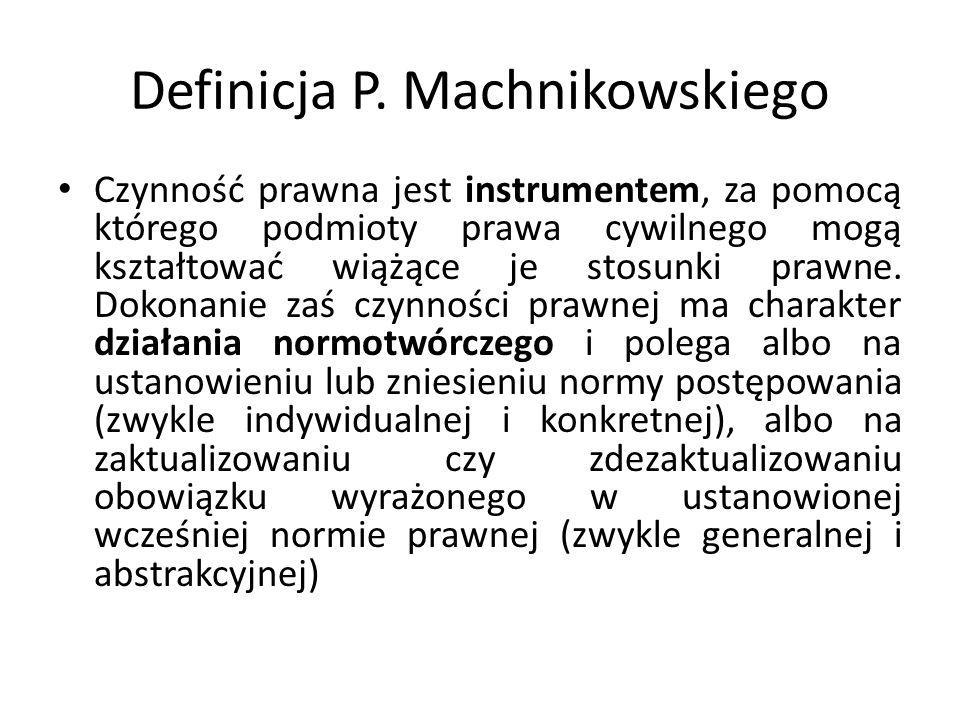 Definicja P. Machnikowskiego Czynność prawna jest instrumentem, za pomocą którego podmioty prawa cywilnego mogą kształtować wiążące je stosunki prawne