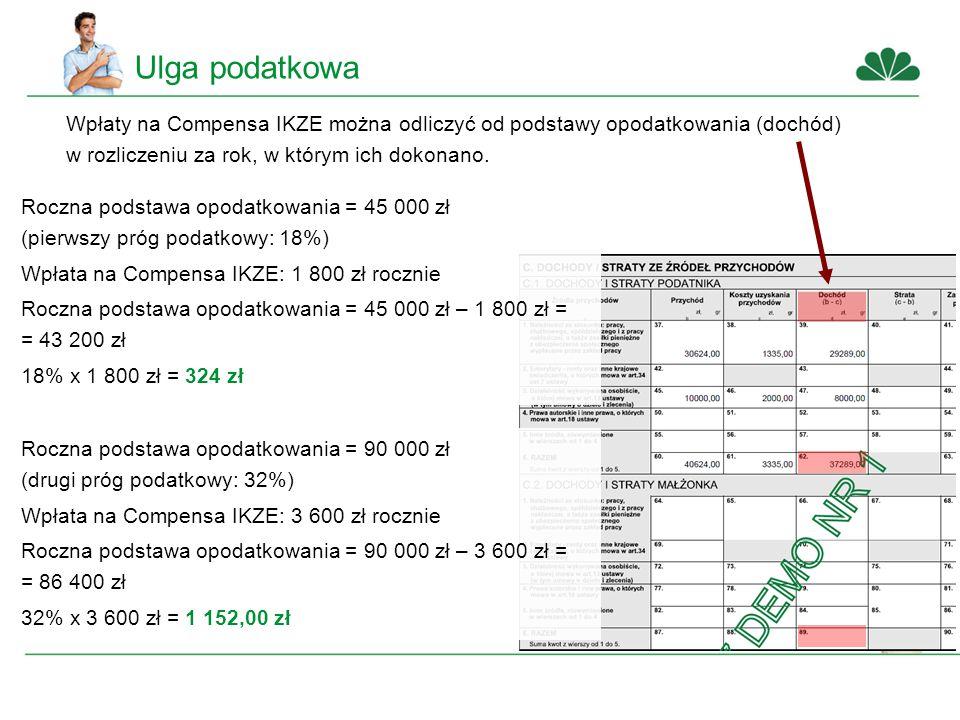 Ulga podatkowa Wpłaty na Compensa IKZE można odliczyć od podstawy opodatkowania (dochód) w rozliczeniu za rok, w którym ich dokonano.