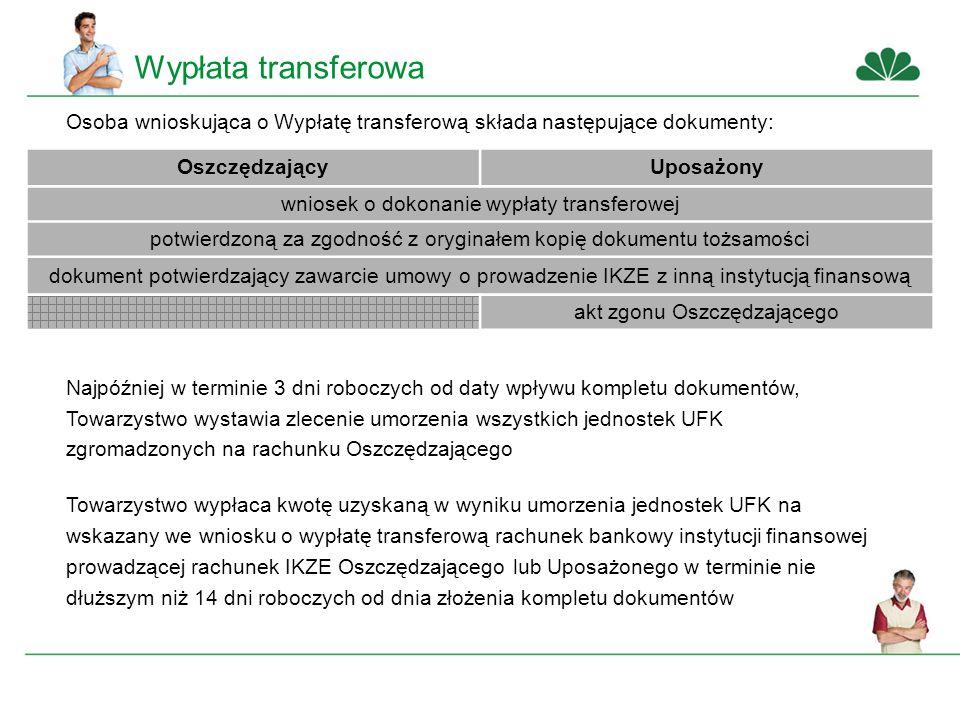 Wypłata transferowa Osoba wnioskująca o Wypłatę transferową składa następujące dokumenty: OszczędzającyUposażony wniosek o dokonanie wypłaty transferowej potwierdzoną za zgodność z oryginałem kopię dokumentu tożsamości dokument potwierdzający zawarcie umowy o prowadzenie IKZE z inną instytucją finansową akt zgonu Oszczędzającego Najpóźniej w terminie 3 dni roboczych od daty wpływu kompletu dokumentów, Towarzystwo wystawia zlecenie umorzenia wszystkich jednostek UFK zgromadzonych na rachunku Oszczędzającego Towarzystwo wypłaca kwotę uzyskaną w wyniku umorzenia jednostek UFK na wskazany we wniosku o wypłatę transferową rachunek bankowy instytucji finansowej prowadzącej rachunek IKZE Oszczędzającego lub Uposażonego w terminie nie dłuższym niż 14 dni roboczych od dnia złożenia kompletu dokumentów