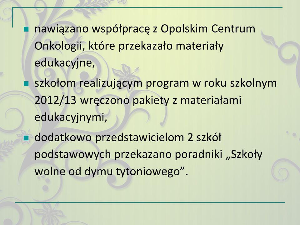nawiązano współpracę z Opolskim Centrum Onkologii, które przekazało materiały edukacyjne, szkołom realizującym program w roku szkolnym 2012/13 wręczon