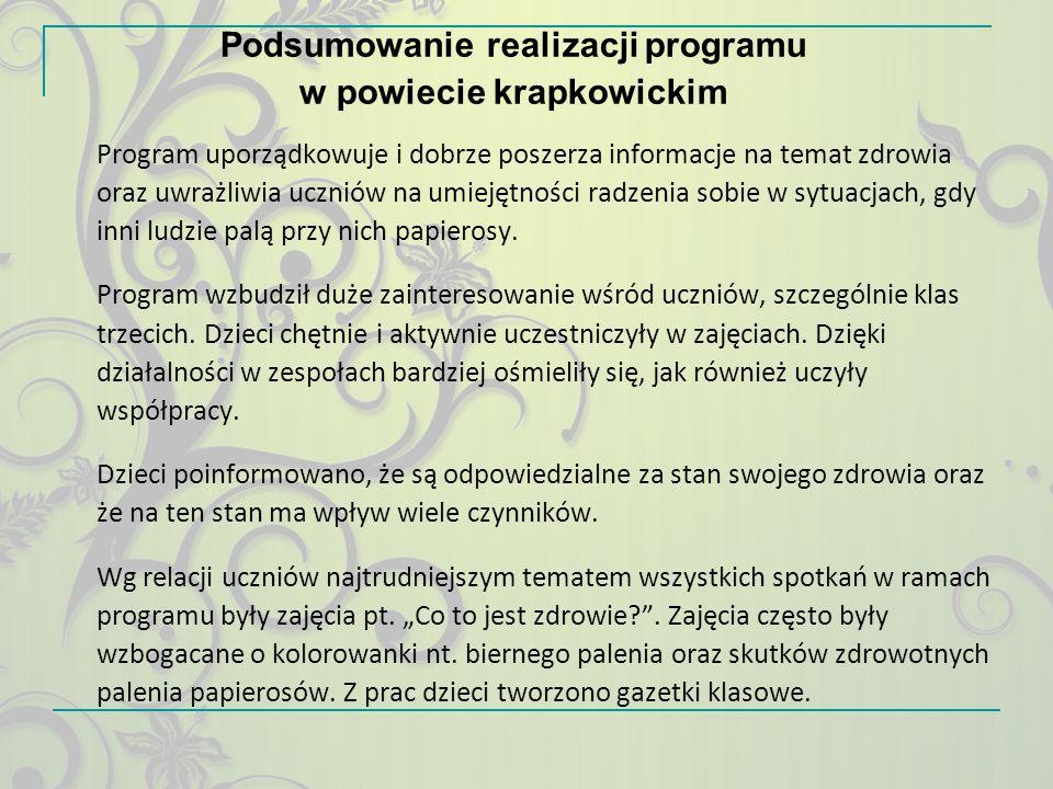 Podsumowanie realizacji programu w powiecie krapkowickim Program uporządkowuje i dobrze poszerza informacje na temat zdrowia oraz uwrażliwia uczniów n