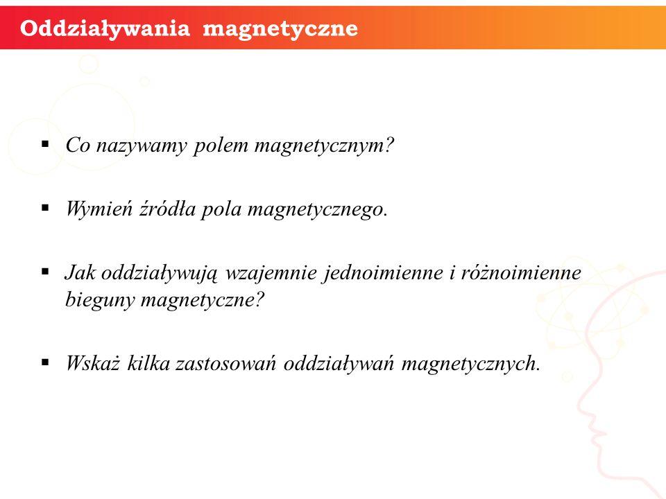 Oddziaływania magnetyczne  Co nazywamy polem magnetycznym?  Wymień źródła pola magnetycznego.  Jak oddziaływują wzajemnie jednoimienne i różnoimien