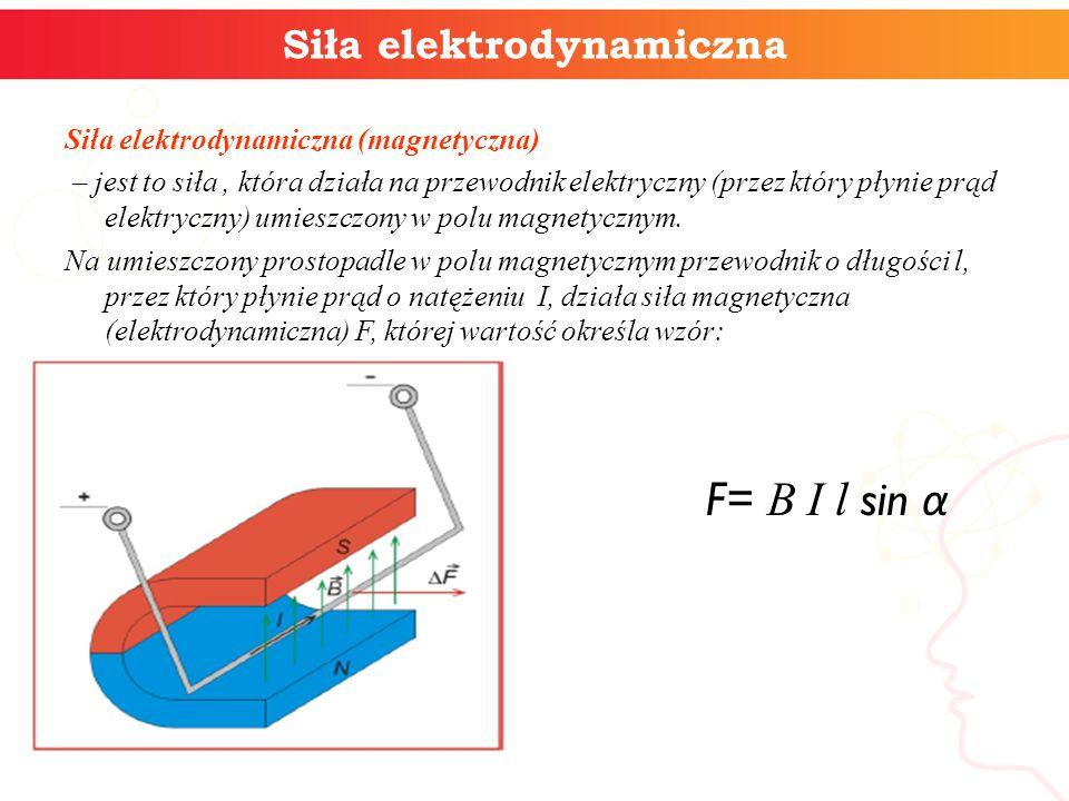 Siła elektrodynamiczna Siła elektrodynamiczna (magnetyczna) – jest to siła, która działa na przewodnik elektryczny (przez który płynie prąd elektryczny) umieszczony w polu magnetycznym.