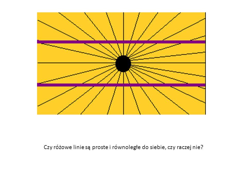 Czy różowe linie są proste i równoległe do siebie, czy raczej nie?
