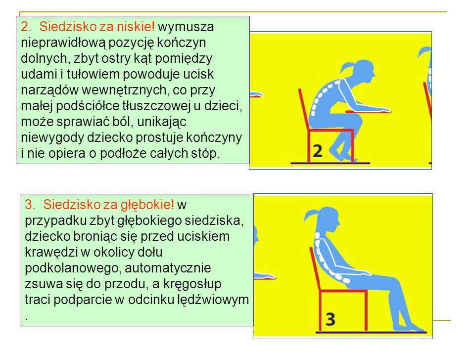 2.Siedzisko za niskie.