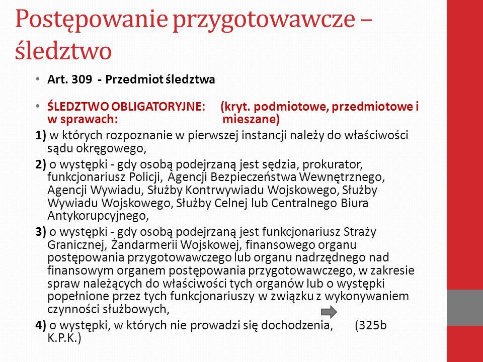 Postępowanie przygotowawcze – śledztwo Art.309 - Przedmiot śledztwa ŚLEDZTWO OBLIGATORYJNE: (kryt.