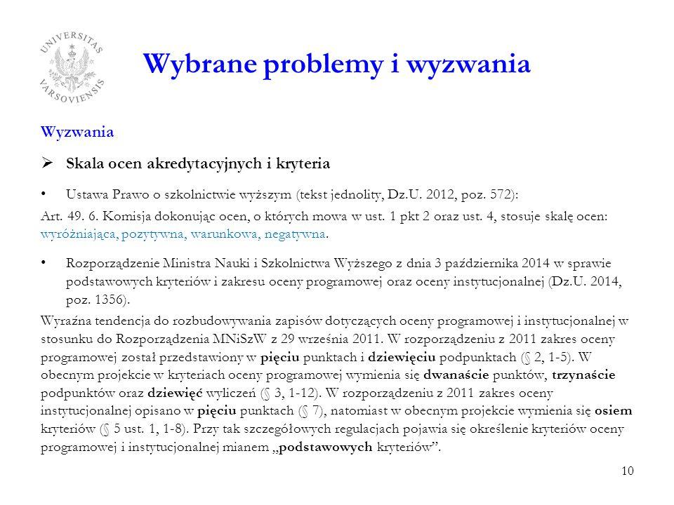 Wybrane problemy i wyzwania Wyzwania  Skala ocen akredytacyjnych i kryteria Ustawa Prawo o szkolnictwie wyższym (tekst jednolity, Dz.U. 2012, poz. 57