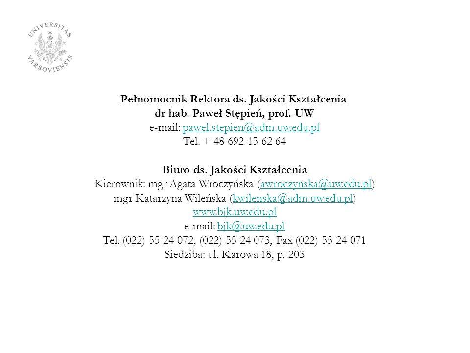 Pełnomocnik Rektora ds. Jakości Kształcenia dr hab. Paweł Stępień, prof. UW e-mail: pawel.stepien@adm.uw.edu.plpawel.stepien@adm.uw.edu.pl Tel. + 48 6