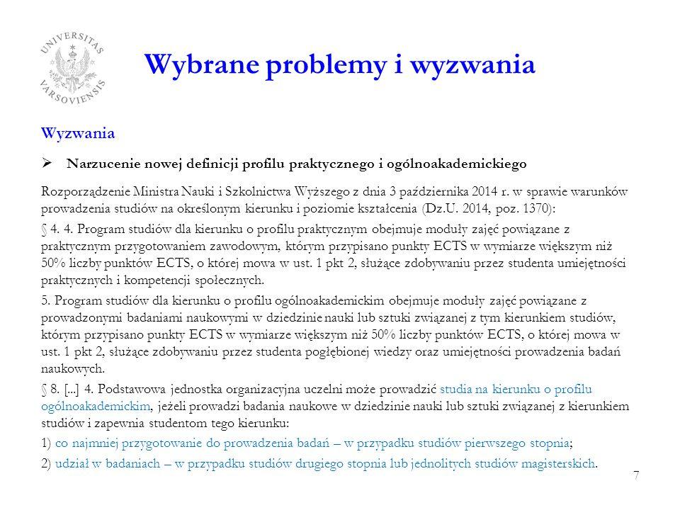 Wybrane problemy i wyzwania Wyzwania  Narzucenie nowej definicji profilu praktycznego i ogólnoakademickiego Rozporządzenie Ministra Nauki i Szkolnictwa Wyższego z dnia 3 października 2014 r.