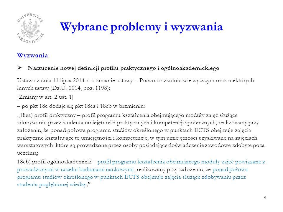 Wybrane problemy i wyzwania Wyzwania  Narzucenie nowej definicji profilu praktycznego i ogólnoakademickiego Ustawa z dnia 11 lipca 2014 r. o zmianie