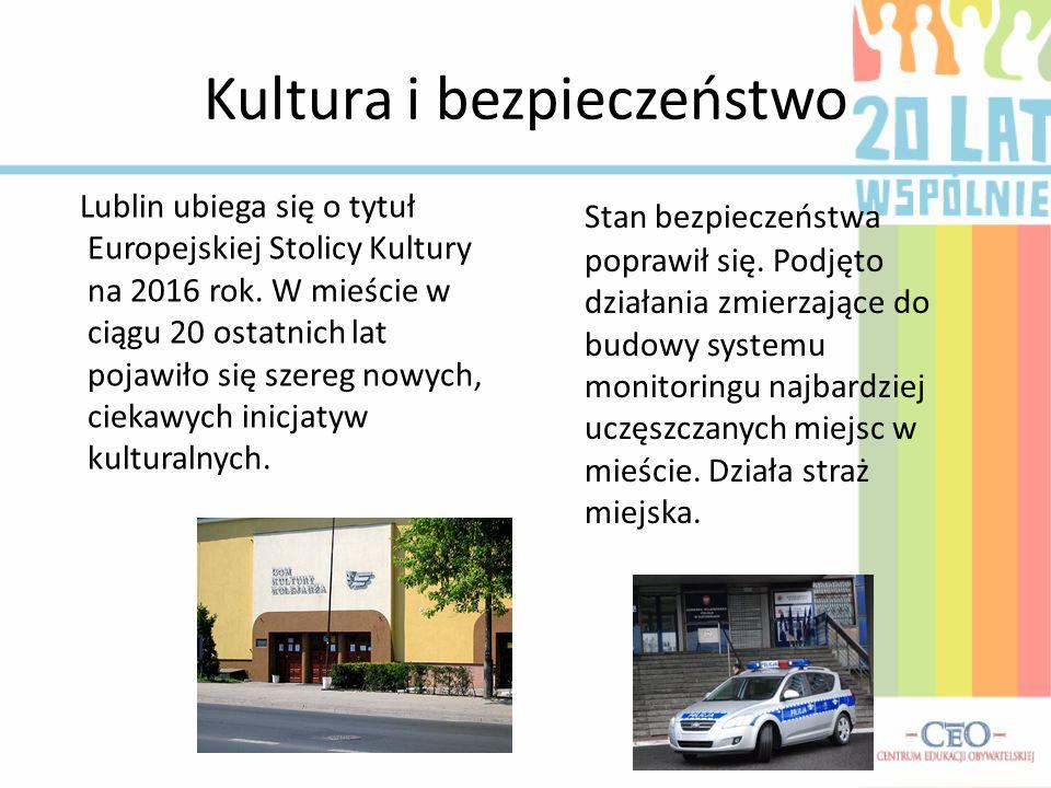 Kultura i bezpieczeństwo Lublin ubiega się o tytuł Europejskiej Stolicy Kultury na 2016 rok. W mieście w ciągu 20 ostatnich lat pojawiło się szereg no