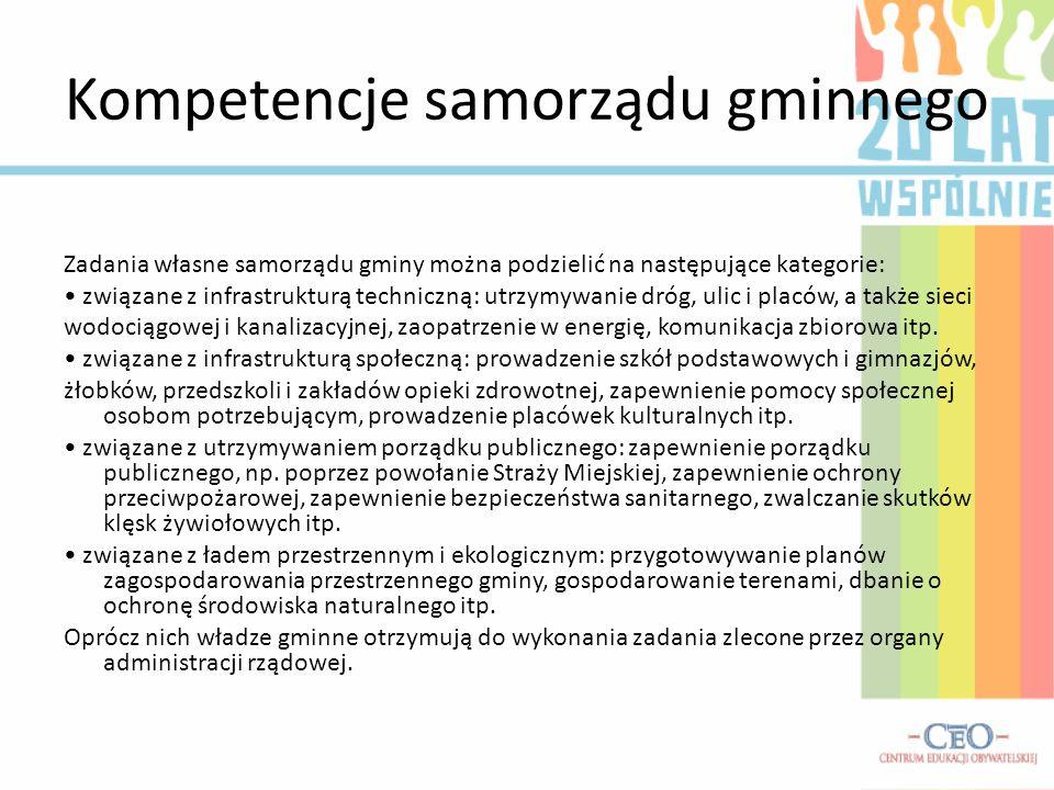 Kompetencje samorządu gminnego Zadania własne samorządu gminy można podzielić na następujące kategorie: związane z infrastrukturą techniczną: utrzymyw